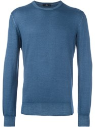 Fay Ribbed Knitted Sweater Blue