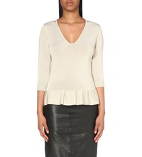 Karen Millen Ruffled Knitted Top Cream