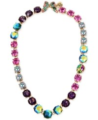 Betsey Johnson Gold Tone Butterfly And Scarab Colorful Crystal Collar Necklace
