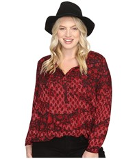 Lucky Brand Plus Size Floral Peasant Blouse Red Multi Women's Blouse