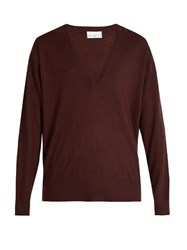 Raey V Neck Fine Knit Cashmere Sweater Burgundy