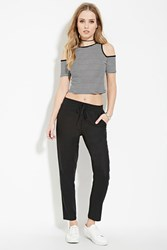 Forever 21 Linen Blend Drawstring Pants Black