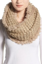 Women's La Fiorentina Infinity Scarf With Genuine Rabbit Fur Fringe Beige Tan