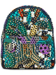 Manish Arora Gold Tone Studded Backpack Blue