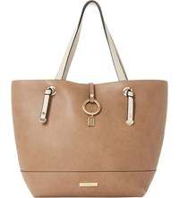 Dune Dollies Faux Leather Shopper Bag Taupe Plain Synthetic