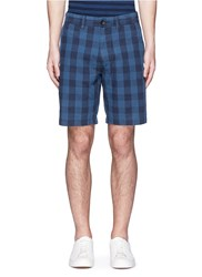 Alex Mill 'Buffalo Plaid' Gingham Check Cotton Linen Shorts Blue