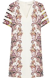 Etro Printed Stretch Ponte Mini Dress White