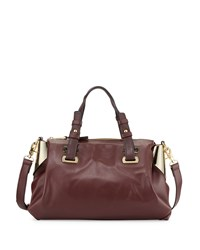 French Connection Nixon Faux Leather Satchel Bag Biker Berry Gold