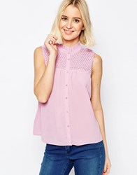 Asos Pretty Sleeveless Blouse With Shirring Detail Pink