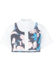 Julien David Floral Print Cropped Shirt White