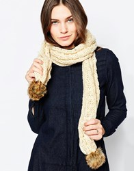 French Connection Knitted Scarf With Faux Fur Trim Cream