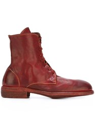 Guidi Round Toe Boots Red