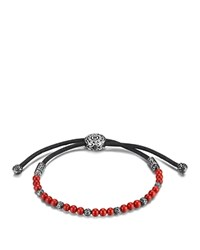 John Hardy Men's Sterling Silver Classic Chain Beaded Bracelet With Reconstructed Coral Red