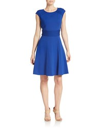 Eliza J Cap Sleeve Fit And Flare Dress Cobalt
