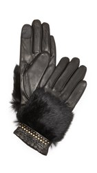 Rebecca Minkoff Fur Patch Texting Gloves Black