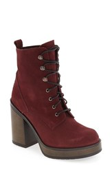 Shellys Women's London 'Kayla' Platform Bootie Burgundy Suede