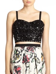 Phoebe Couture Beaded Bustier Top Black
