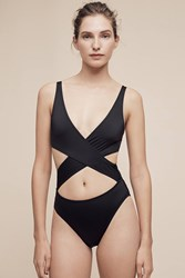 Anthropologie Solid And Striped Poppy Wrap One Piece Black