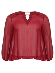 Threads Star Cut Out Sheer Blouse Red