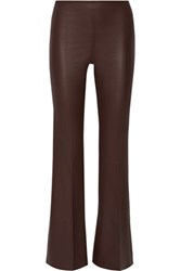 By Malene Birger Rhise High Rise Stretch Leather Flared Pants Dark Brown