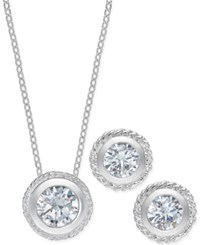 City By City Silver Tone Bezel Crystal Stud Earrings And Pendant Necklace Set