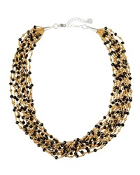 Nakamol Multi Strand Chunky Crystal Necklace Black Gold