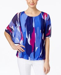 Alfani Angel Sleeve Bubble Hem Top Only At Macy's Blue Multi