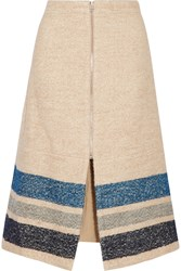 Sea Striped Silk And Wool Blend Midi Skirt Nude
