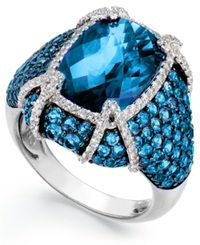 Macy's Sterling Silver Blue Topaz 11 1 10 Ct. T.W. And White Topaz 1 2 Ct. T.W. Ring