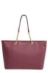 Michael Michael Kors 'Medium Jet Set Chain' Saffiano Leather Tote Purple Plum