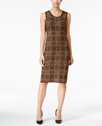 Charter Club Jacquard Shift Dress Only At Macy's Salty Nut Combo