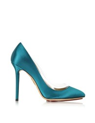 Charlotte Olympia Party Shoes 110 Teal Blue Satin Silk And Pvc Pump