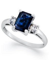 Macy's 14K White Gold Ring Sapphire 1 1 10 Ct. T.W. And Diamond 1 5 Ct. T.W. 3 Stone Ring