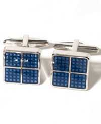 Kenneth Cole Reaction Square Dot Detail Cufflinks Dark Blue
