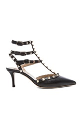 Valentino Rockstud Grained Leather Slingbacks T.65 In Black