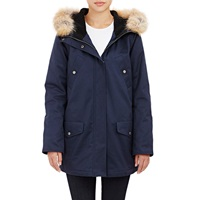Barneys New York Fur Trimmed Hooded Anorak Navy