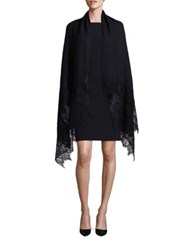 Valentino Cashmere Wool And Silk Blend Lace Shawl Black