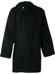 Mow Wide Sleeve Drape Cape Hooded Coat Black