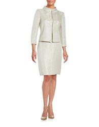 Tahari By Arthur S. Levine Textured Skirt Suit Set Bisque