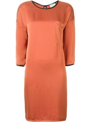 Forte Forte Three Quarter Sleeve Satin Dress Yellow And Orange