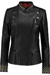 Just Cavalli Embellished Leather Biker Jacket Black