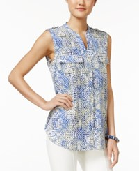 Ny Collection Sleeveless Geometric Print Utility Shirt Blue Trilogy