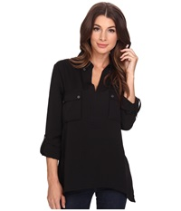 Adrianna Papell Bella Handkerchief Hem Shirt Black Women's Long Sleeve Pullover