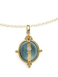 Temple St. Clair Diamond Aquamarine And 18K Yellow Gold Small Locket