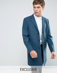 Number Eight Savile Row Overcoat Teal Blue