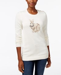Charter Club Petite Bunny Graphic Sweater Only At Macy's Vanilla Bean Combo