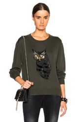Markus Lupfer Owl Embellished Joey Sweater In Green