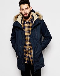 Schott Parka With Borg Lined Hood And Faux Fur Collar Navy