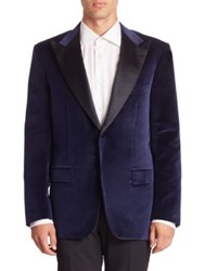 Kiton Smoking Single Breasted Jacket Blue