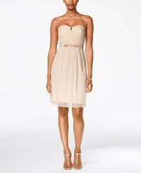 Adrianna Papell Strapless Ruched Dress Almond